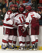 Brendan Rempel (Harvard - 12), Brian Hart (Harvard - 39), Kyle Criscuolo (Harvard - 11), Marshall Everson (Harvard - 21), Dan Ford (Harvard - 5) - The Harvard University Crimson defeated the Colgate University Raiders 4-1 (EN) on Friday, February 15, 2013, at the Bright Hockey Center in Cambridge, Massachusetts.