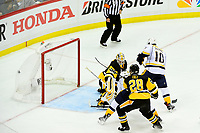 May 29, 2017: Nashville Predators center Colton Sissons (10) scores against Pittsburgh Penguins goalie Matt Murray (30)  during game one of the National Hockey League Stanley Cup Finals between the Nashville Predators  and the Pittsburgh Penguins, held at PPG Paints Arena, in Pittsburgh, PA. Pittsburgh defeats Nashville 5-3 in regulation time.  Eric Canha/CSM