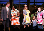 Steve Vinovich, NaTasha Yvette Williams, Katie Grober and Caitlin Houlahan with Katharine McPhee during her Broadway Debut Curtain Call in 'Waitress' at the Brooke Atkinson Theatre on April 10, 2018 in New York City.