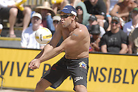 Huntington Beach, CA - 5/6/07:  Stein Metzger gets under the ball during Lambert / Metzger's 21-17, 21-18 win over Gibb / Rosenthal in the championship match of the AVP Cuervo Gold Crown Huntington Beach Open of the 2007 AVP Crocs Tour..Photo by Carlos Delgado