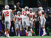 Ohio State Buckeyes defensive tackle Davon Hamilton (53) celebrates after recovering a fumble in the end zone from TCU Horned Frogs quarterback Shawn Robinson, not pictured, during the first quarter of a NCAA Division I college football game between the TCU Horned Frogs and the Ohio State Buckeyes on Saturday, September 15, 2018 at AT&T Stadium in Arlington, Texas. [Joshua A. Bickel/Dispatch]