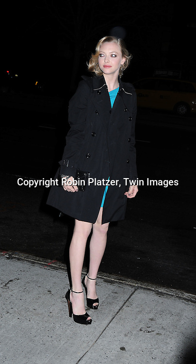 "actress Amanda Seyfried arriving at The New York Premiere of ""Chloe"" on March 15, 2010 at The Landmark Sunshine Theatre. The movie stars Julianne Moore and Amanda Seyfried."