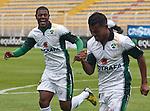 La Equidad se impuso contundentemente 4 – 0 a Alianza Petrolera en juego válido por la novena jornada del Torneo Clausura Colombiano 2013 / Celebran el primer gol de Equidad José Moreno (l) y Wilson Morelo (d)