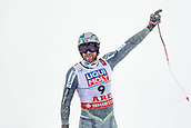 9th February 2019, ARE, Sweden; Aksel Lund Svindal of Norway celebrates after taking 2nd place and retiring in mens downhill during the FIS Alpine World Ski Championships on February 9, 2019 in Are.