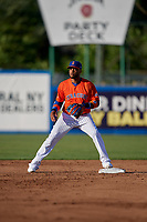 New York Mets second baseman Robinson Cano (4), on rehab assignment with the Syracuse Mets, waits for a throw before turning a double play during a game against the Charlotte Knights on June 11, 2019 at NBT Bank Stadium in Syracuse, New York.  (Mike Janes/Four Seam Images)