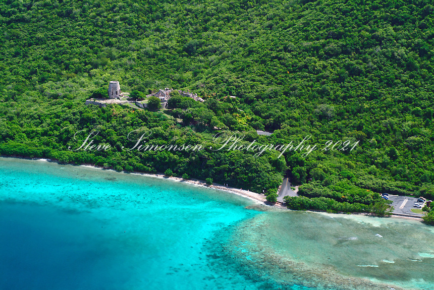 Aerial view of Annaberg Sugar Plantation Ruins<br />