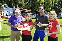 Marcel Siem (GER) samples some Barrys Tea and Clonakilty Pudding during Wednesday's Pro-Am of the 2014 Irish Open held at Fota Island Resort, Cork, Ireland. 18th June 2014.<br /> Picture: Eoin Clarke www.golffile.ie