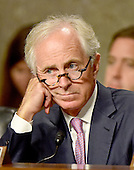 United States Senator Bob Corker (Republican of Tennessee), Chairman, US Senate Committee on Foreign Relations, listens as US Secretary of State John F. Kerry appears before the committee to examine and review the Iran nuclear agreement on Capitol Hill in Washington, DC on Thursday, July 23, 2015.<br /> Credit: Ron Sachs / CNP
