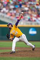 LSU Tigers pitcher Zac Person (49) delivers a pitch to the plate against the TCU Horned Frogs in Game 10 of the NCAA College World Series on June 18, 2015 at TD Ameritrade Park in Omaha, Nebraska. TCU defeated the Tigers 8-4, eliminating LSU from the tournament. (Andrew Woolley/Four Seam Images)