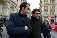Roma, 2 Dicembre 2017<br /> Alfredo D'Attorre e Nicola Fratoianni.<br /> Manifestazione della CGIL per Pensioni e Lavoro