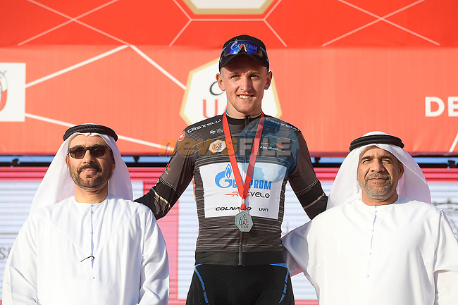 Stepan Kuriyanov (RUS) Gazprom–Rusvelo retains the Black Jersey at the end of Stage 3 of the 2019 UAE Tour, running 179km form Al Ain to Jebel Hafeet, Abu Dhabi, United Arab Emirates. 26th February 2019.<br /> Picture: LaPresse/Fabio Ferrari | Cyclefile<br /> <br /> <br /> All photos usage must carry mandatory copyright credit (© Cyclefile | LaPresse/Fabio Ferrari)