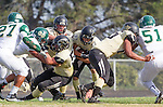 Palos Verdes, CA 10/25/13 - Rory Hubbard (Peninsula #22), Jake Rathbun (Peninsula #51), Jeric Lagmay (Peninsula #65) and Carlo Merola (Peninsula #60) in action during the Mira Costa vs Peninsula varsity football game at Palos Verdes Peninsula High School.