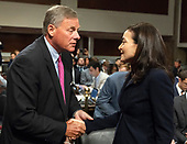 """United States Senator Richard Burr (Republican of North Carolina), left, shakes hands with Sheryl Sandberg, Chief Operating Officer, Facebook, right, prior to a US Senate Select Committee on Intelligence hearing """"to examine foreign influence operations' use of social media platforms"""" on Capitol Hill in Washington, DC on Wednesday, September 5, 2018.<br /> Credit: Ron Sachs / CNP<br /> (RESTRICTION: NO New York or New Jersey Newspapers or newspapers within a 75 mile radius of New York City)"""