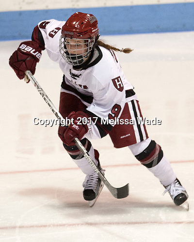 Bradley Fusco (Harvard - 9) - The Harvard University Crimson tied the Boston University Terriers 6-6 on Monday, February 7, 2017, in the Beanpot consolation game at Matthews Arena in Boston, Massachusetts.