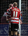 Iain Hume of Doncaster is congratulatede after scoring their first goal. Stevenage v Doncaster Rovers - npower League 1 -  Lamex Stadium, Stevenage - 12th January, 2013. © Kevin Coleman 2013.