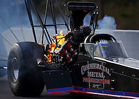 Mar 15, 2014; Gainesville, FL, USA; NHRA top fuel dragster driver Pat Dakin explodes an engine on fire during qualifying for the Gatornationals at Gainesville Raceway Mandatory Credit: Mark J. Rebilas-USA TODAY Sports
