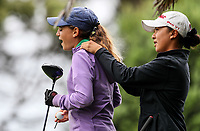 Silvia Brunotti and Yoonjeong Huh. New Zealand Stroke Play Championships, Paraparaumu Golf Course, Paraparaumu Beach, Kapiti Coast, Saturday 24 March 2018. Photo: Simon Watts/www.bwmedia.co.nz
