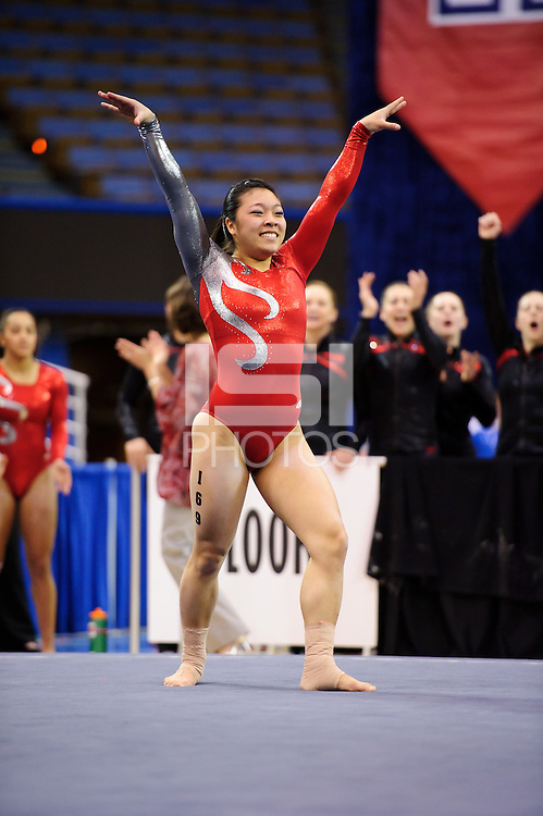 LOS ANGELES, CA - March 19, 2011:  Stanford's Danielle Ikoma competes in floor exercise during the Pac-10 Championship at UCLA's Pauley Pavilon.   Stanford placed fourth in the competition.