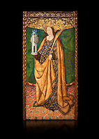 Gothic Aaltarpiece of Saint Barbara, 3rd quarter of the 15th century, tempera and gold leaf on for wood.  National Museum of Catalan Art, Barcelona, Spain, inv no: MNAC   114746-7. Against a black background.