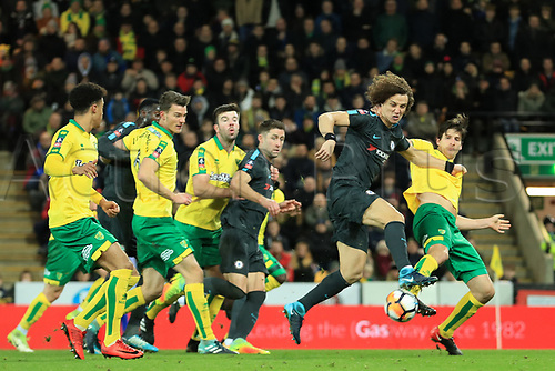 6th January 2018, Carrow Road, Norwich, England;  FA Cup football, 3rd round, Norwich City versus Chelsea; The shot from David Luiz of Chelsea is blocked by Timm Klose of Norwich City