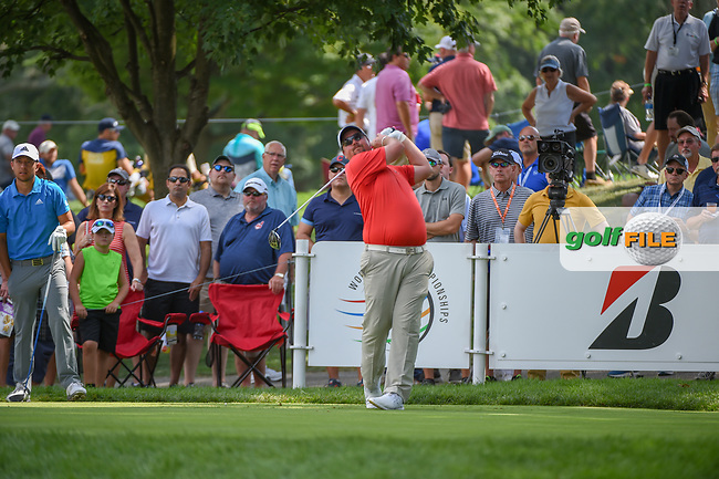 Jaco Ahlers (RSA) watches his tee shot on 18 during 2nd round of the World Golf Championships - Bridgestone Invitational, at the Firestone Country Club, Akron, Ohio. 8/3/2018.<br /> Picture: Golffile   Ken Murray<br /> <br /> <br /> All photo usage must carry mandatory copyright credit (© Golffile   Ken Murray)