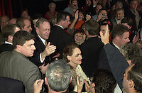 SHawinigan, November 28, 2000<br /> Reelected Prime Minister Jean Chretien shake hands with Liberal supporters after his speech on election night, in his Shawinigan riding.<br /> Photo : Pierre Roussel / Newsmakers<br /> NOTE : Original size raw file from D 1 . See Patrick Whalen