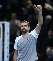 Croatia's Marin Cilic celebrates after winning his match against John Isner of the United States<br /> <br /> Photographer Rob Newell/CameraSport<br /> <br /> International Tennis - Nitto ATP World Tour Finals Day 4 - O2 Arena - London - Wednesday 14th November 2018<br /> <br /> World Copyright © 2018 CameraSport. All rights reserved. 43 Linden Ave. Countesthorpe. Leicester. England. LE8 5PG - Tel: +44 (0) 116 277 4147 - admin@camerasport.com - www.camerasport.com