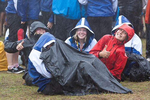 in the Rain at Lighthouse celebration in the World Scout Jamboree 2011, Sweden