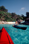 Thailand, Similan Islands National Park, Andaman Sea, Southeast Asia, sea kayaking to a perfect beach