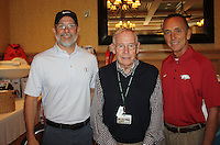 NWA Democrat-Gazette/CARIN SCHOPPMEYER Al Dominguez, Golf Event co-chairman (from left), Ed Clifford, Jones Center chief executive officer, and John George, luncheon speaker, visit at the Monday fundraiser.
