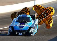 Mar 28, 2014; Las Vegas, NV, USA; NHRA funny car driver Jeff Diehl during qualifying for the Summitracing.com Nationals at The Strip at Las Vegas Motor Speedway. Mandatory Credit: Mark J. Rebilas-