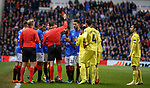 29.11.2018 Rangers v Villarreal: Daniel Candeias sent off much to his amazement