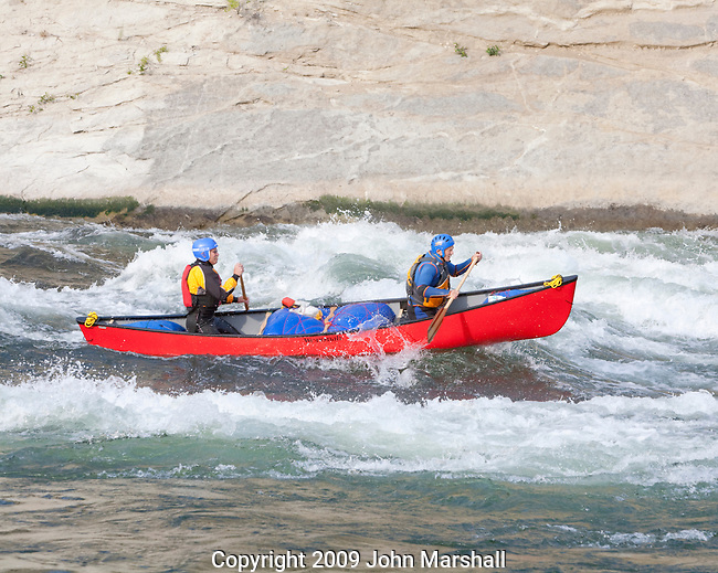 Robert Scott (bow) and Andy Dappen paddle a Wenonah Rogue through Drunkard's Drop on the Wenatchee River in Washington State. June 25, 2009.Flow 4600 cfs.