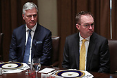 United States National Security Advisor Robert C. O'Brien, left, and Acting White House Chief of Staff Mick Mulvaney, right, attend a luncheon with United States President Donald J. Trumpand the Permanent Representatives of the United Nations Security Council in the Cabinet Room of the White House on December 5, 2019 in Washington, DC.<br /> Credit: Oliver Contreras / Pool via CNP