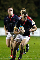 James Malcolm of London Scottish in action during the Championship Cup match between London Scottish Football Club and Yorkshire Carnegie at Richmond Athletic Ground, Richmond, United Kingdom on 4 October 2019. Photo by Carlton Myrie / PRiME Media Images