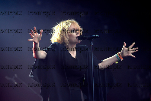 GOLDFRAPP - vocalist Alison Goldfrapp - performing live on the West Holts Stage on Day 3 of the 2014 Glastonbury Festival at Pilton Farm Somerset UK - 28 Jun 2014.  Photo credit: George Chin/IconicPix