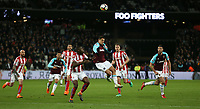 West Ham United's Javier Hernandez heads forward<br /> <br /> Photographer Rob Newell/CameraSport<br /> <br /> The Premier League - West Ham United v Stoke City - Monday 16th April 2018 - London Stadium - London<br /> <br /> World Copyright &copy; 2018 CameraSport. All rights reserved. 43 Linden Ave. Countesthorpe. Leicester. England. LE8 5PG - Tel: +44 (0) 116 277 4147 - admin@camerasport.com - www.camerasport.com
