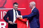 National soccer team of Spain new coach Luis Enrique Martinez (l) with the president of the RFEF Luis Rubiales during his official presentation. July 19,2018. (ALTERPHOTOS/Acero)
