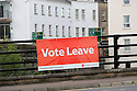 A 'Vote Leave' poster fixed to a bridge in Enniskillen, County Fermanagh, Thursday, June 23rd, 2016, as voting got under way for the EU referendum on wether the United Kingdom should remain a member of the European Union or Leave the European Union.