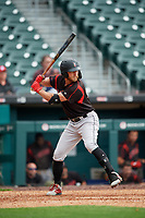 Indianapolis Indians Logan Hill (35) at bat during an International League game against the Buffalo Bisons on June 20, 2019 at Sahlen Field in Buffalo, New York.  Buffalo defeated Indianapolis 11-8  (Mike Janes/Four Seam Images)