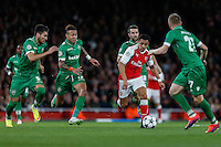 Alexis Sanchez of Arsenal (2nd right) tries to find a way through the Ludogorets Razgrad team during the UEFA Champions League match between Arsenal and PFC Ludogorets Razgrad at the Emirates Stadium, London, England on 19 October 2016. Photo by David Horn / PRiME Media Images.