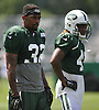 Kevin Short #32 of the New York Jets, left, practices alongside #41 Buster Skrine during team training camp at Atlantic Health Jets Training Center in Florham Park, NJ on Thursday, Aug. 4, 2016.