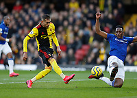 1st February 2020; Vicarage Road, Watford, Hertfordshire, England; English Premier League Football, Watford versus Everton; Roberto Pereyra of Watford shoots to score his sides 2nd goal in the 42nd minute to make it 2-0