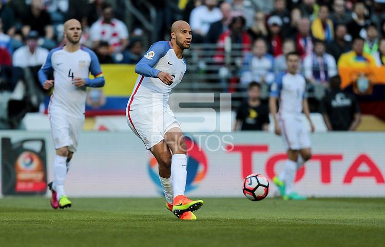 Seattle, WA - June 16, 2016: The U.S. Men's National team go up against Ecuador in Quarterfinal action at the 2016 Copa America Centenario at CenturyLink Field.