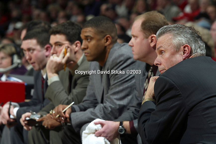 Madison, WI, 2/11/03 - University of Wisconsin head coach Bo Ryan during the Michigan State game at the Kohl Center. The Badgers beat Michagan State 64-53. ©David Stluka