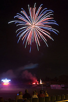 Post game fireworks at Fieldcrest Cannon Stadium July 25, 2009 in Kannapolis, North Carolina. (Photo by Brian Westerholt / Four Seam Images)