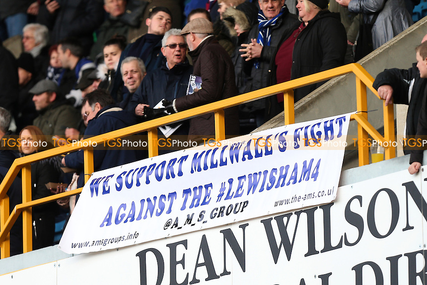 We Support Millwall's Fight Against The Lewisham 4 banner during Millwall vs Watford, Emirates FA Cup Football at The Den on 29th January 2017