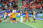 The Hague, Netherlands, June 15: Players of Australia and The Netherlands enter the pitch before the national anthem before the field hockey gold match (Men) between Australia and The Netherlands on June 15, 2014 during the World Cup 2014 at Kyocera Stadium in The Hague, Netherlands. Final score 6-1 (2-1)  (Photo by Dirk Markgraf / www.265-images.com) *** Local caption ***