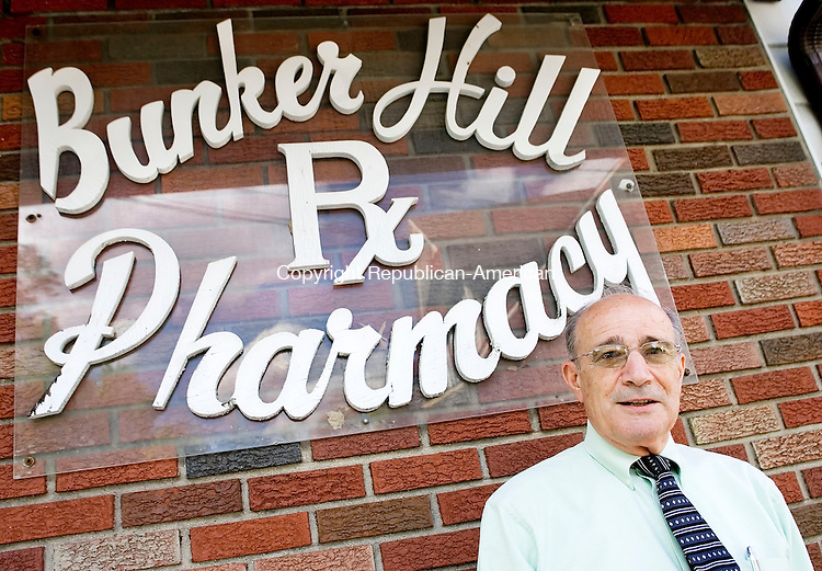 WATERBURY, CT- 23 MAY 2008- 052308JT10- <br /> Bunker Hill Pharmacy owner Billy Summa, the chairman of the Commission of Pharmacy for the state, has been working at the store for 60 years, since he was 13-years-old.<br /> Josalee Thrift / Republican-American
