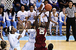 01 February 2015: Boston College's Karima Gabriel (25) grabs a rebound under challenge from North Carolina's Allisha Gray (15). The University of North Carolina Tar Heels hosted the Boston College Eagles at Carmichael Arena in Chapel Hill, North Carolina in a 2014-15 NCAA Division I Women's Basketball game. UNC won the game 72-60.